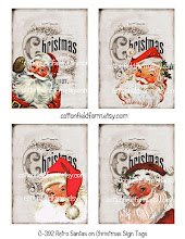 Retro Santas on Christmas Sign