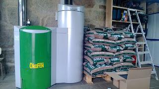 caldera pellets llenado con sacos de pellets