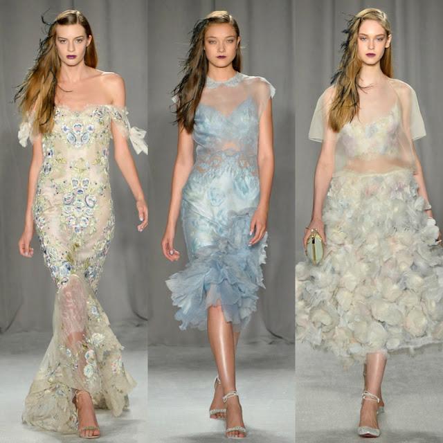 marchesa, fashion week, models, new york fashion week, ss2014, spring 2014, ready to wear, gowns, sheer, appliques, butterfly, 2014, white, gold, fashion updates, fashion, georgina chapman, keren craig, designers, couture, grey, heels