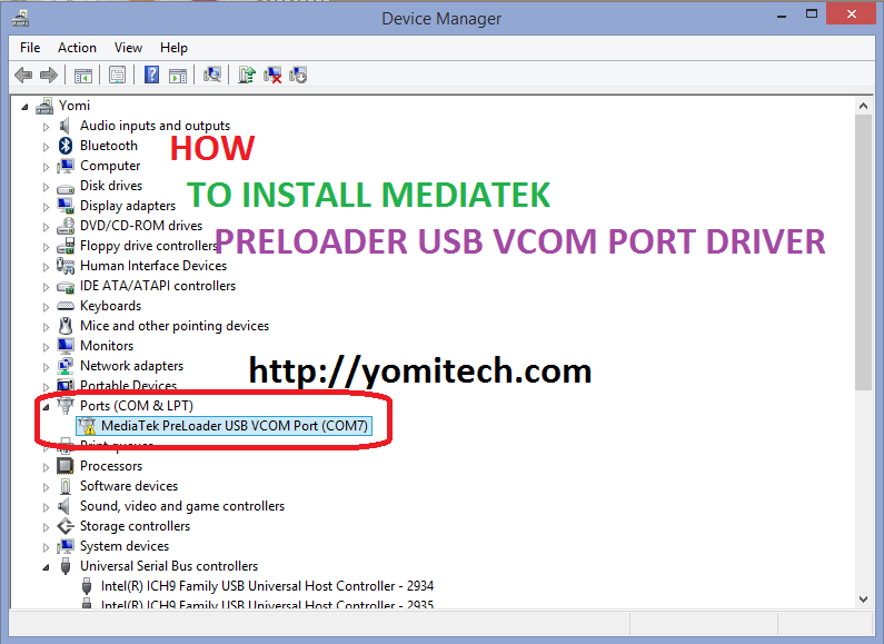 Драйвер mediatek preloader usb vcom port скачать