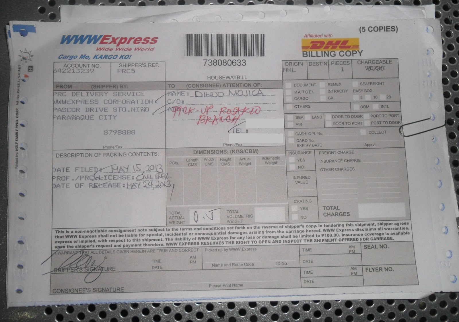 Dhl air express airway bill instructions - The Courier Form Billing Copy Initial Filling Up Their Forms