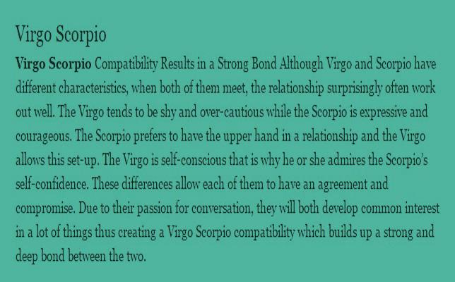 Virgo woman dating scorpio man