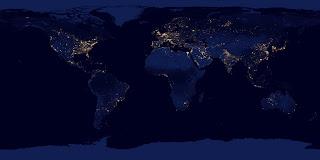 Панорама Земли ночью из космоса
