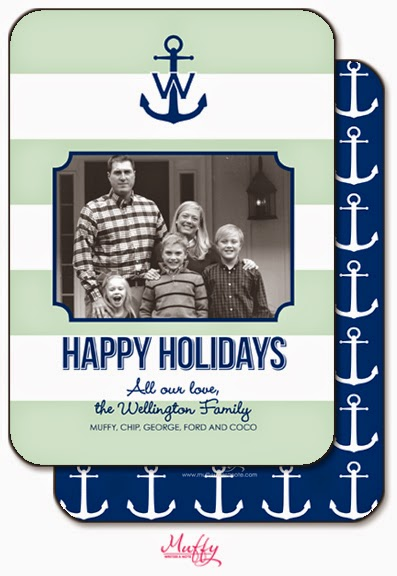 Muffy Writes a Note Nautical Holiday Cards