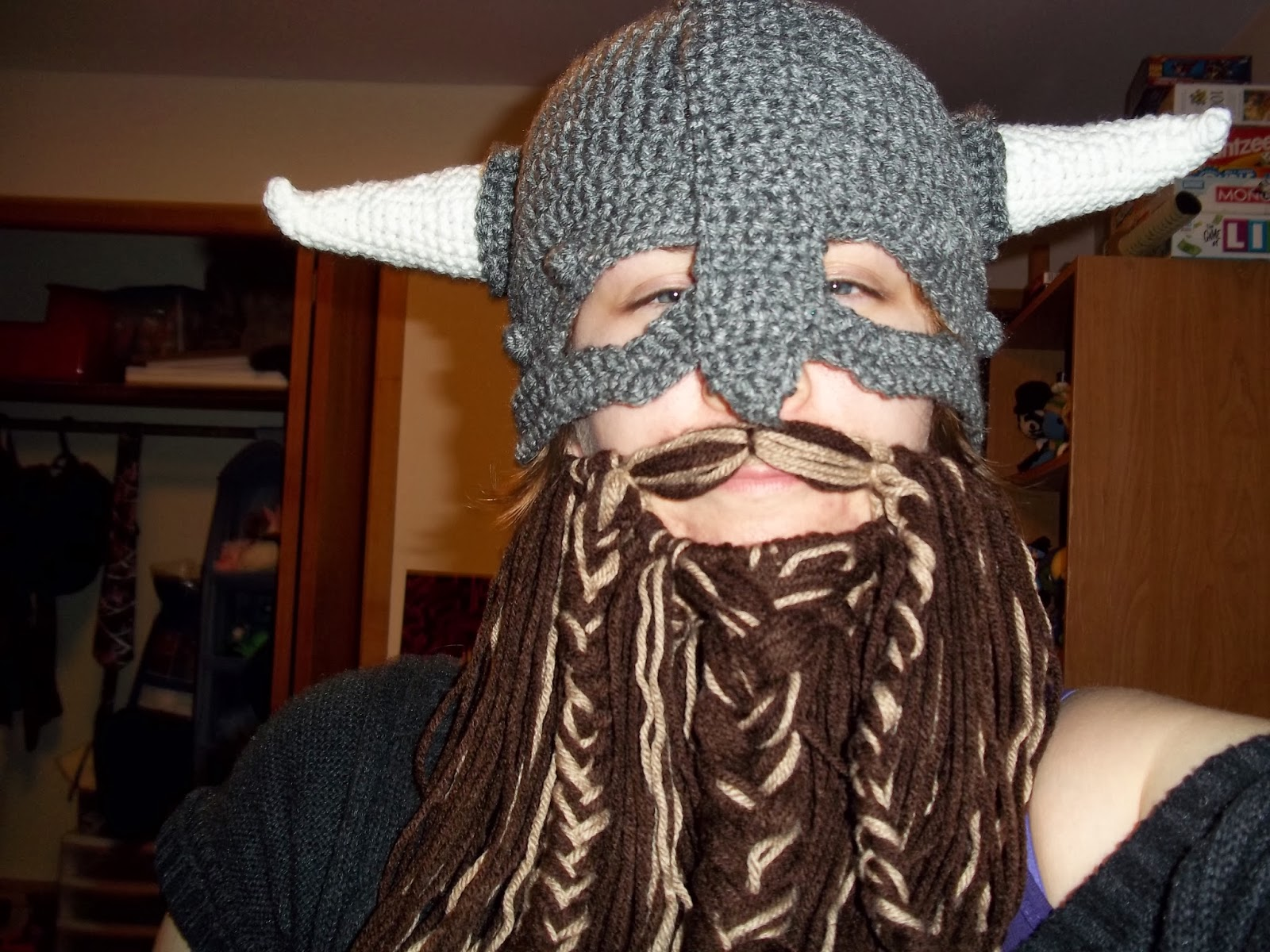 Crocheted viking and dwarf beard helmets keep you warm wont protect