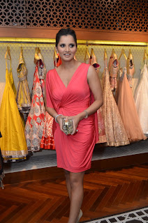 Sania Mirza in a Deep Neck Sleeveless Short Gown at Shantanu Nikhil Designer Store Launch