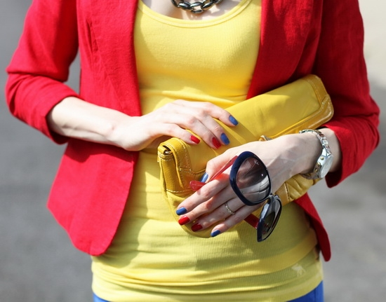 Perlina New York Yellow Leather Clutch Ray-Ban Color-Block Sunglasses Michael Kors Two-Tone Chronograph Watch