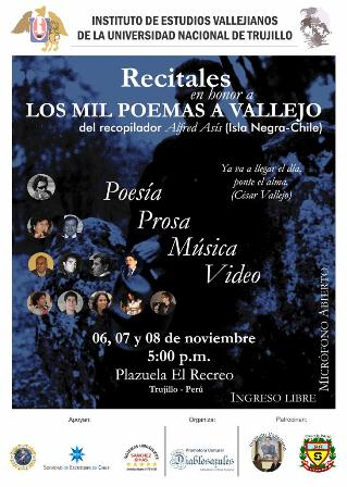 Recitales en Honor a Los Mil Poemas a Vallejo
