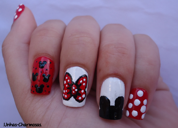 Nail Art do Mickey e da Minnie, unhas do Mickey e Minnie, unhas do Mickey