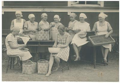 Emäntäkoulun oppilaat työn ääressä