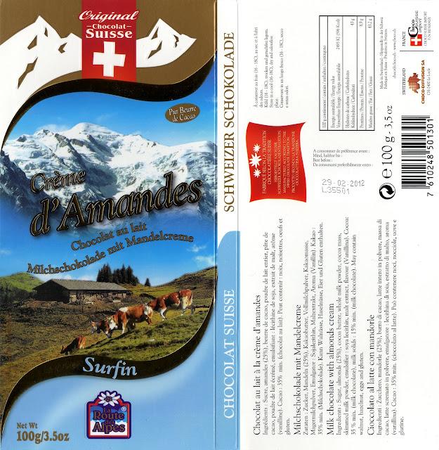tablette de chocolat lait gourmand orset la route des alpes lait crème d'amandes