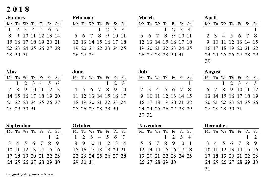 2018 calendar print out