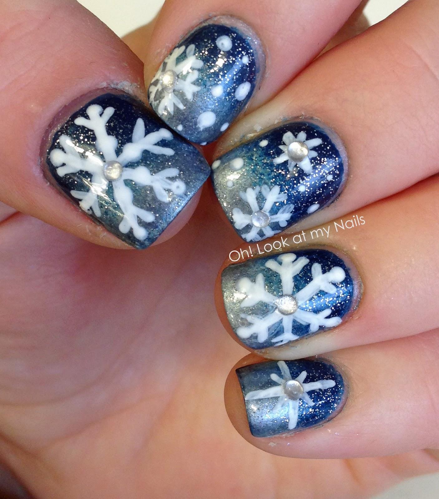 Winter Nail Art: Oh! Look At My Nails: Snowflake Nail Art