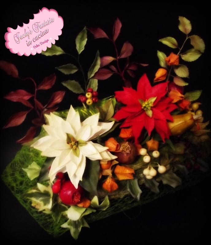 Composizione natalizia fiori in gum paste
