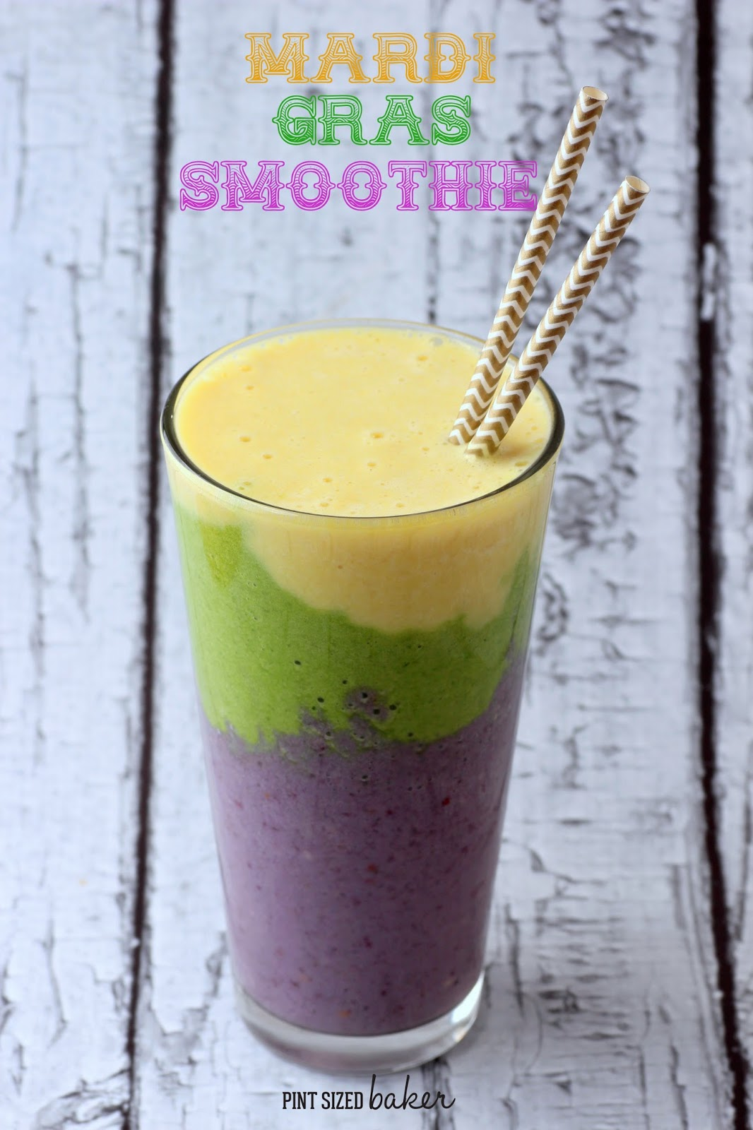 Multi-layered smoothie made for Mardi Gras! It's a fun way to drink your fruits and veggies.