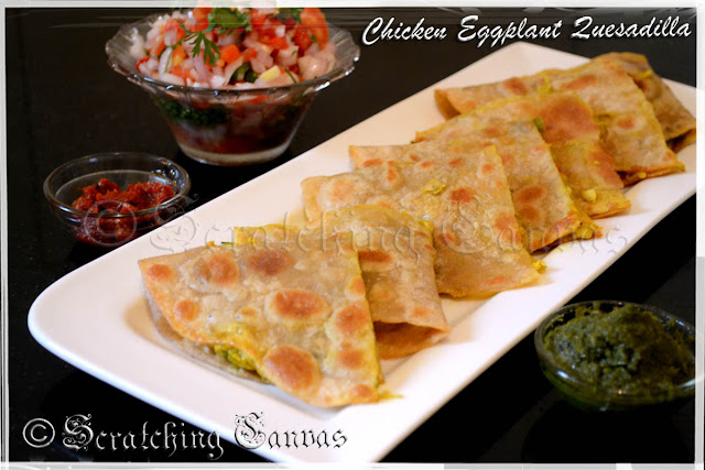 Chicken and Eggplant in Mustard Sauce Quesadilla