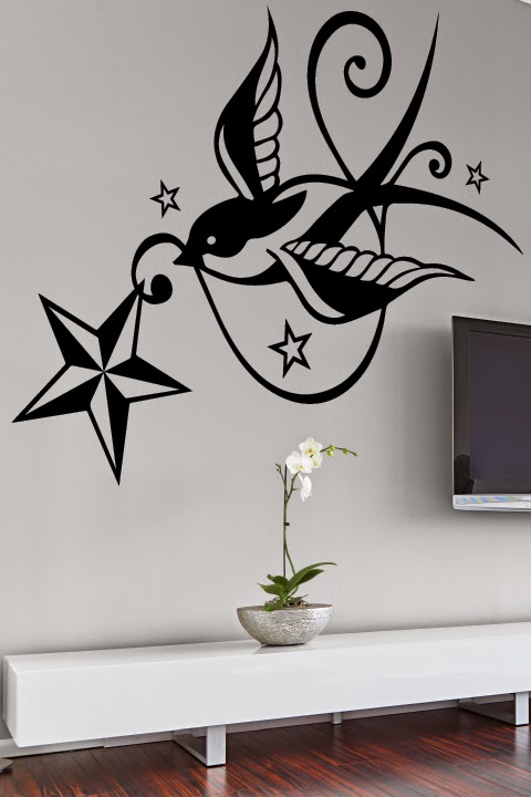 Sparrow or swallow tattoos are the perfect wall art version of body art