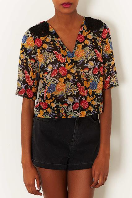 floral blouse crop top