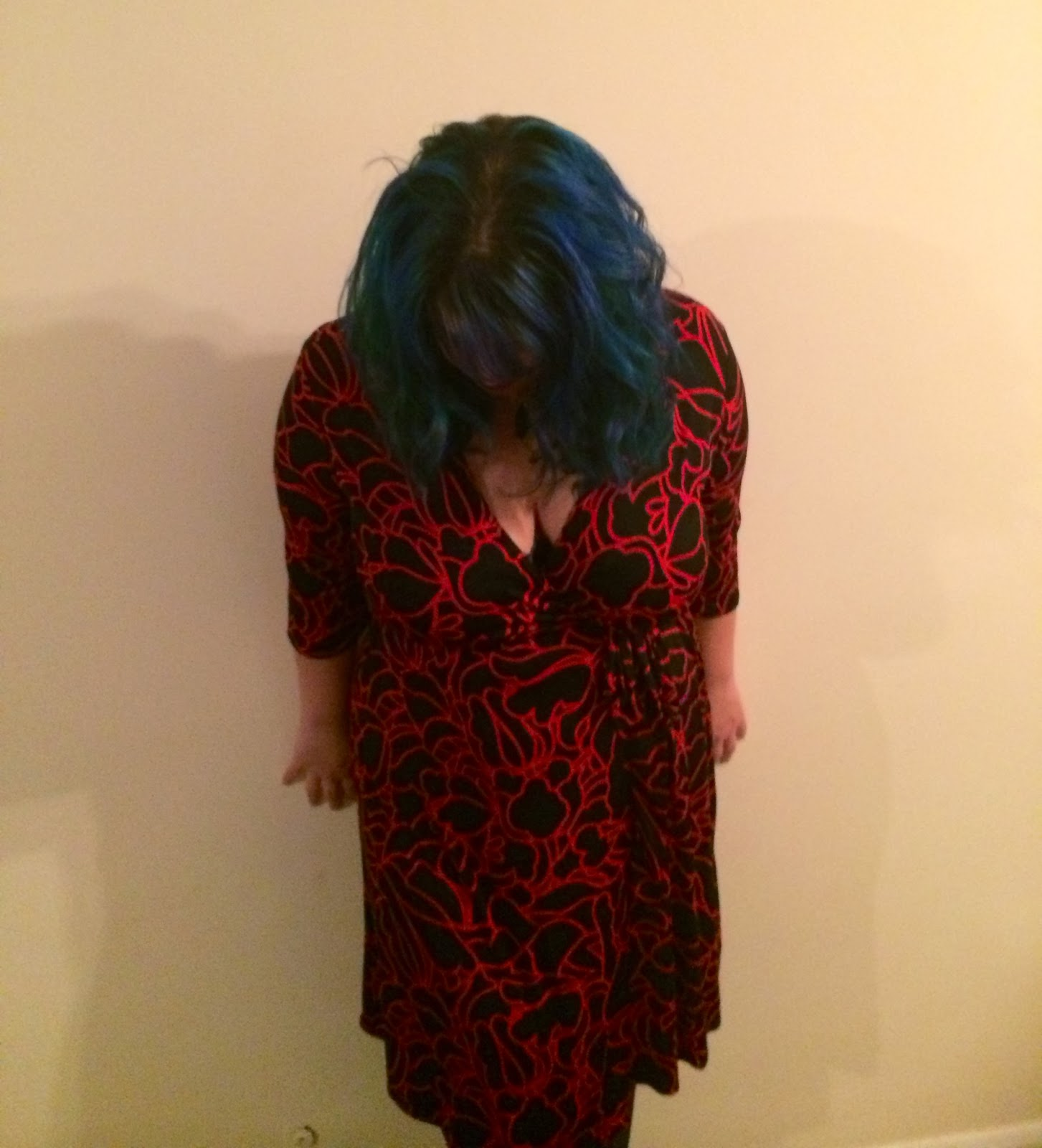 red dress, blue hair, fashion