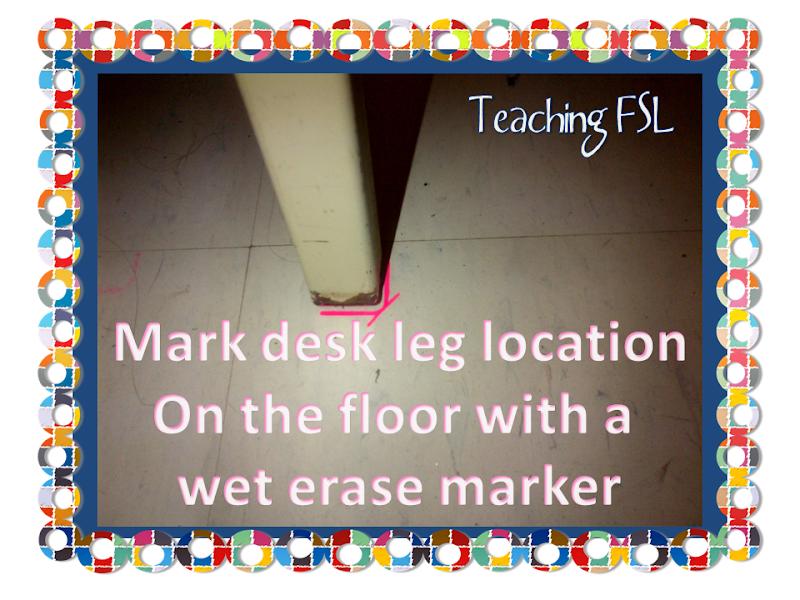 Sticker-free Tip for Straightening Students' Desks