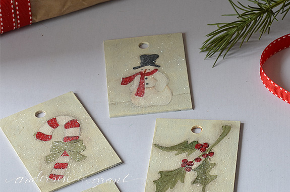 Learn how to make easy DIY Christmas Gift Tag Ornaments from leftover Formica samples! | www.andersonandgrant.com