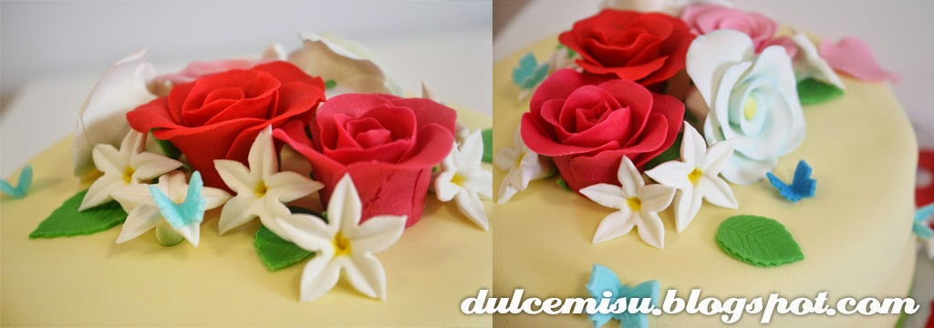 tarta, flores, rosas, cumpleaños, fondant, dulcemisu, reposteria creativa