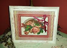 COTTAGE SHABBY CHIC FRAMED VINTAGE PINK ROSES