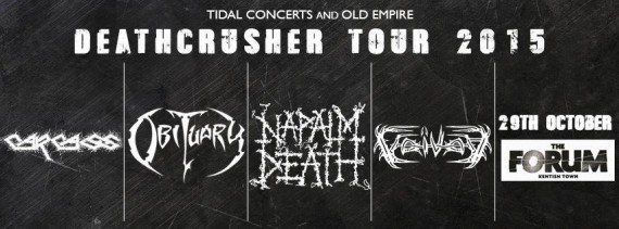 """Death Crusher Tour 2015"" CARCASS + OBITUARY + NAPALM DEATH + VOIVOD 1434135674"