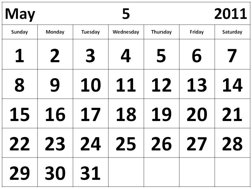 free may 2011 calendar template. Free Printable Calendar 2011