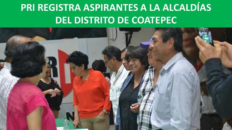PRI REGISTRA ASPIRANTES A LA ALCALDÍAS DEL DISTRITO DE COATEPEC
