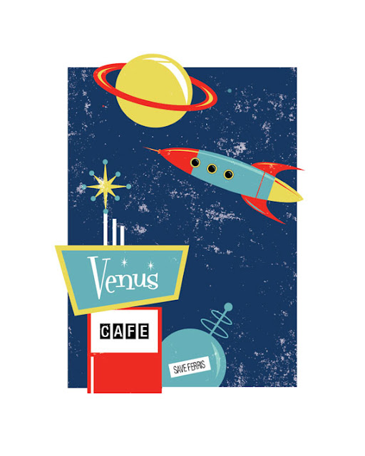 Retro space poster, save Ferris, fry cook on Venus.