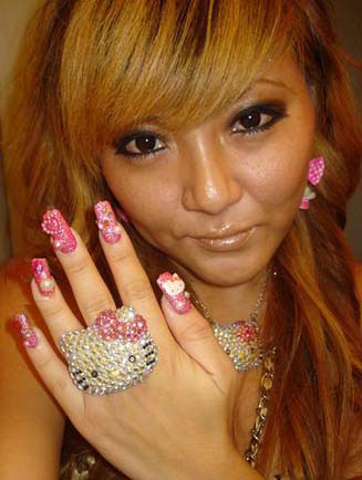 nail art japonesa unha 3d hello kitty cute
