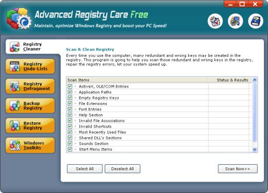 برنامج مجاني لإصلاح أخطاء التسجيل وتنظيف والعناية بسجل النظام الريجيستري Advanced Registry Care Free-2-0