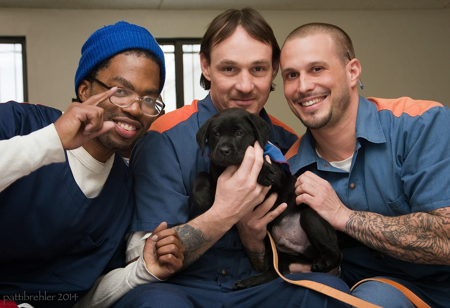 A small black lab puppy is held by three men sitting close togehter. The man on the left is wearing a blue knit hat and glasses and is pointing up with his right index finger. The middle man is holding the upper part of the puppy and has brown hair. The man on the right is holding the belly of the puppy and his head is shaved. Tattoos cover his left arm.They are all wearing blue shirts, the two on the right have orange stripes on the shoulders.