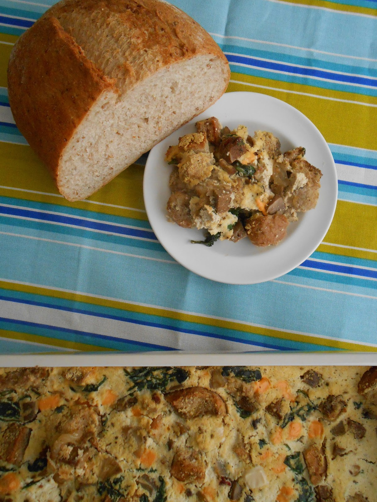 Savory Spinach & Sausage Bread Pudding - flora foodie