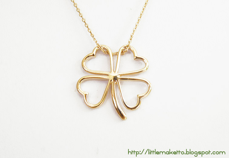 Golden shamrock necklace little maketto ne036 golden shamrock four leaf clover pendant outline in gold gold cable chain spring ring clasp length of chain 17 inches aloadofball Gallery