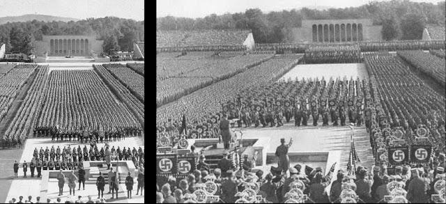 ナチ党党大会(正式名称は「全国党大会(De-Reichsparteitag.ogg Reichsparteitag[ヘルプ/ファイル])」)は、ドイツの政党国家社会主義ドイツ労働者党(以下ナチ党)が1923年から1938年にかけて行っていた党大会である。1933年のナチ党の権力掌握以来、一貫してニュルンベルクで党大会が開催されていたため、ニュルンベルク党大会と呼ばれることが多い。ニュルンベルクでの党大会は、ドイツ民族とナチ党の結合を象徴させるための一大プロパガンダとして毎年9月初めに開催されていた。  目次      1 10回の党大会         1.1 政権獲得前の党大会         1.2 政権獲得後の党大会     2 参考文献         2.1 出典     3 外部リンク  10回の党大会 政権獲得前の党大会  ナチ党の第一回党大会は1923年1月27日から1月29日にかけてミュンヘンにおいて行われた。12か所での公開党大会となった。本大会は1月28日に行われ、ここでヒトラーは自らがデザインした突撃隊旗を突撃隊の各連隊に渡した。これは後の党大会まで受け継がれる慣例となる[1]。  第二回党大会は1926年7月3日から4日にかけてテューリンゲン州ヴァイマールで行われた。ここが選ばれたのは当時のテューリンゲン州がヒトラーの演説を許していた数少ない州だったためである[2]。この党大会でクルト・グルーバー率いるザクセンのナチ党青少年組織「大ドイツ青少年連合」を「ヒトラー・ユーゲント」と改名させて党内唯一の青少年組織と定めた[1][3]。ミュンヘン一揆の失敗で党が解散させられた後に再建した後の最初の党大会であり、党の復活を世にアピールする意味が大きかった[4]。ナチ党はこの時点で弱小政党に過ぎなかったが、それでも3500人ほどの突撃隊の行進を行ってヴァイマールでの党大会を締めくくった[5]。  第三回党大会は1927年8月19日から21日にかけてニュルンベルクで開催された。およそ2万人の党員が参加した。21日の演説でヒトラーは「ドイツ民族にはもっと生存圏が必要であり、それは力による領土拡張によってのみ実現される。しかしドイツは3つの忌むべき思想、国際主義と民主主義と平和主義によって力を奪われてしまった。この邪悪の三位一体はユダヤ人が創造した物である。」と述べ、生存圏概念を反ユダヤ主義に結び付けた[6]。  第四回党大会は1931年10月17日から18日にかけてブラウンシュヴァイクで突撃隊の集会という形で行われた[7]。      1927年にニュルンベルクで開催された党大会。ヒトラーのほか、ハインリヒ・ヒムラー、ルドルフ・ヘス、グレゴール・シュトラッサー、フランツ・プフェファー・フォン・ザロモンらの姿が見える      1929年のニュルンベルクでの党大会。突撃隊を率いているのはホルスト・ヴェッセル  政権獲得後の党大会  第五回党大会は1933年8月30日から9月3日にかけてニュルンベルクのルイトポルトハイン(Luitpoldhain)に建設された国家党大会広場で開催された。ナチ党政権獲得後の最初の党大会であり、「勝利の大会」と名付けられた。32万人から40万人の人々が参加した。この大会はレニ・リーフェンシュタールが記録し、『信念の勝利』という題名で公開された。  初日の8月30日、ヒトラーはニュルンベルクを「帝国党大会の都市」とすることを宣言した。1927年に党大会を最初にニュルンベルクで開催したのは、ドイツ国のほぼ中央に位置すること、野外イベントに適したルイトポルトハインという公園があること、ニュルンベルクのナチ党組織は大管区指導者ユリウス・シュトライヒャーのもとでよく組織されていたためその組織力をあてにできたこと、現地の警察がナチ党に好意的だったことなど実用的な理由が中心だった。政権獲得後は、ニュルンベルクが党大会の開催地となることは、かつてここが神聖ローマ帝国(第一帝国)の中心地のひとつで、皇帝カール4世の「金印勅書」(1356年)以来、1543年まで帝国議会の開催される街であったという伝統と結び付けられて理念的に正当化されるようになった。  第六回党大会は1934年9月4日から10日にかけてニュルンベルクで開催され、「統一と力の大会」と命名された。この大会からアルベルト・シュペーア発案の夜間の130基の対空サーチライトによるライトアップが効果的に使用される。レニ・リーフェンシュタールがこの党大会を記念映画にして『意志の勝利』を作成した[8]。  第七回党大会は1935年9月10日から16日にかけてニュルンベルクで開催された。党大会のスローガンは「自由」であった。この党大会中の9月13日にヒトラーはユ