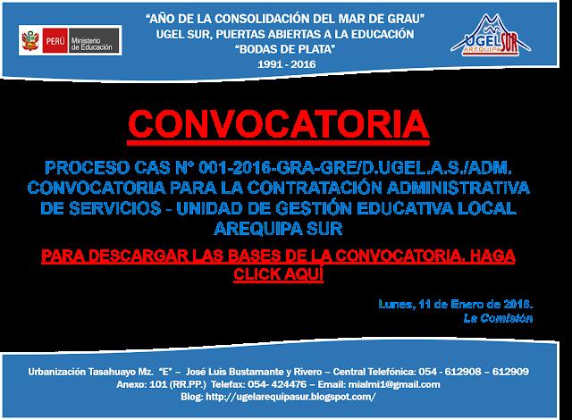 Convocatoria para contrataci n administrativa ugel for Convocatorias para profesores 2016