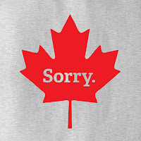 "canada maple leaf with ""sorry"" printed on it"