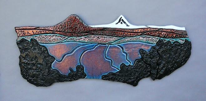 Black Butte, Mt Jefferson & Lake Billy Chinook ~ Raku tile mural