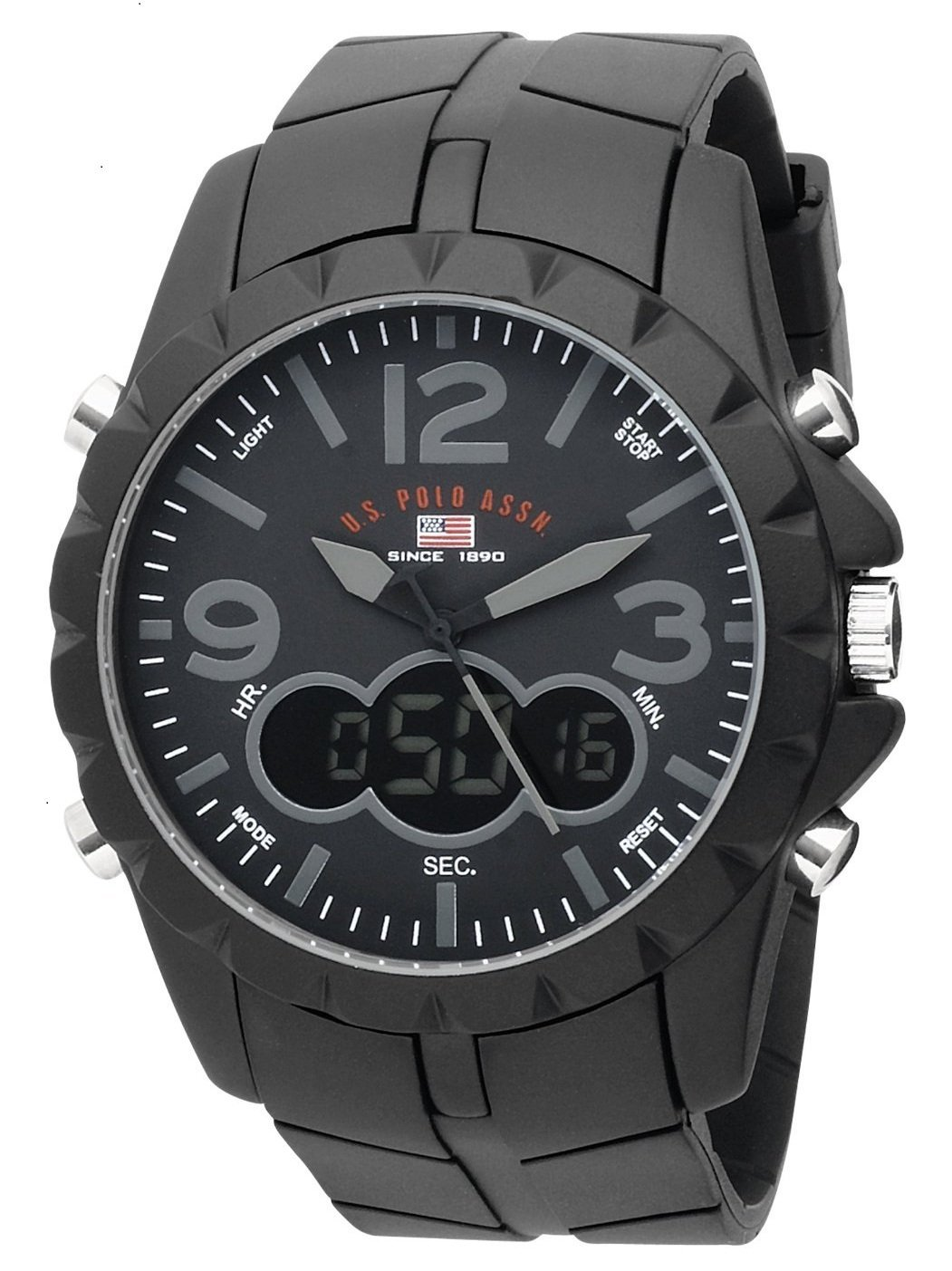 u s polo assn men s us9058 analog digital black dial black rubber strap watch