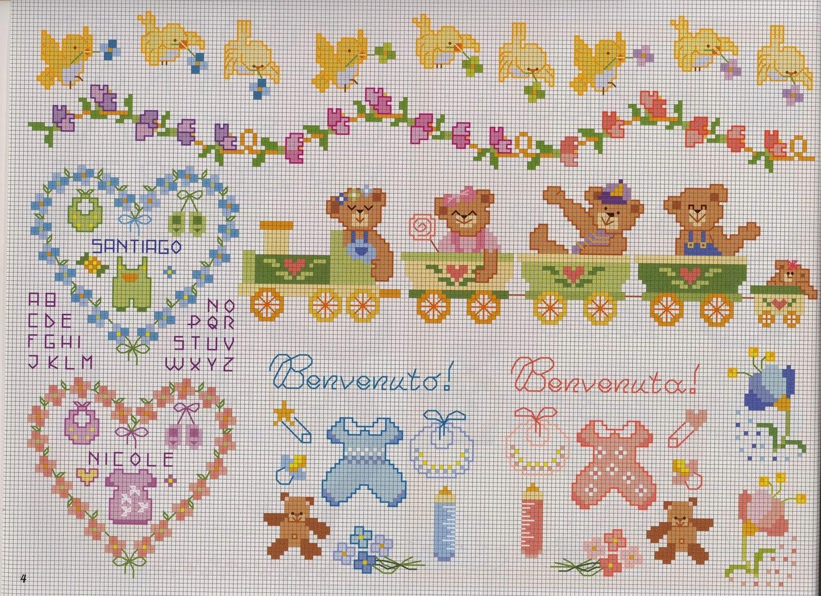 Hobby lavori femminili ricamo uncinetto maglia for Decorazioni punto croce bambini