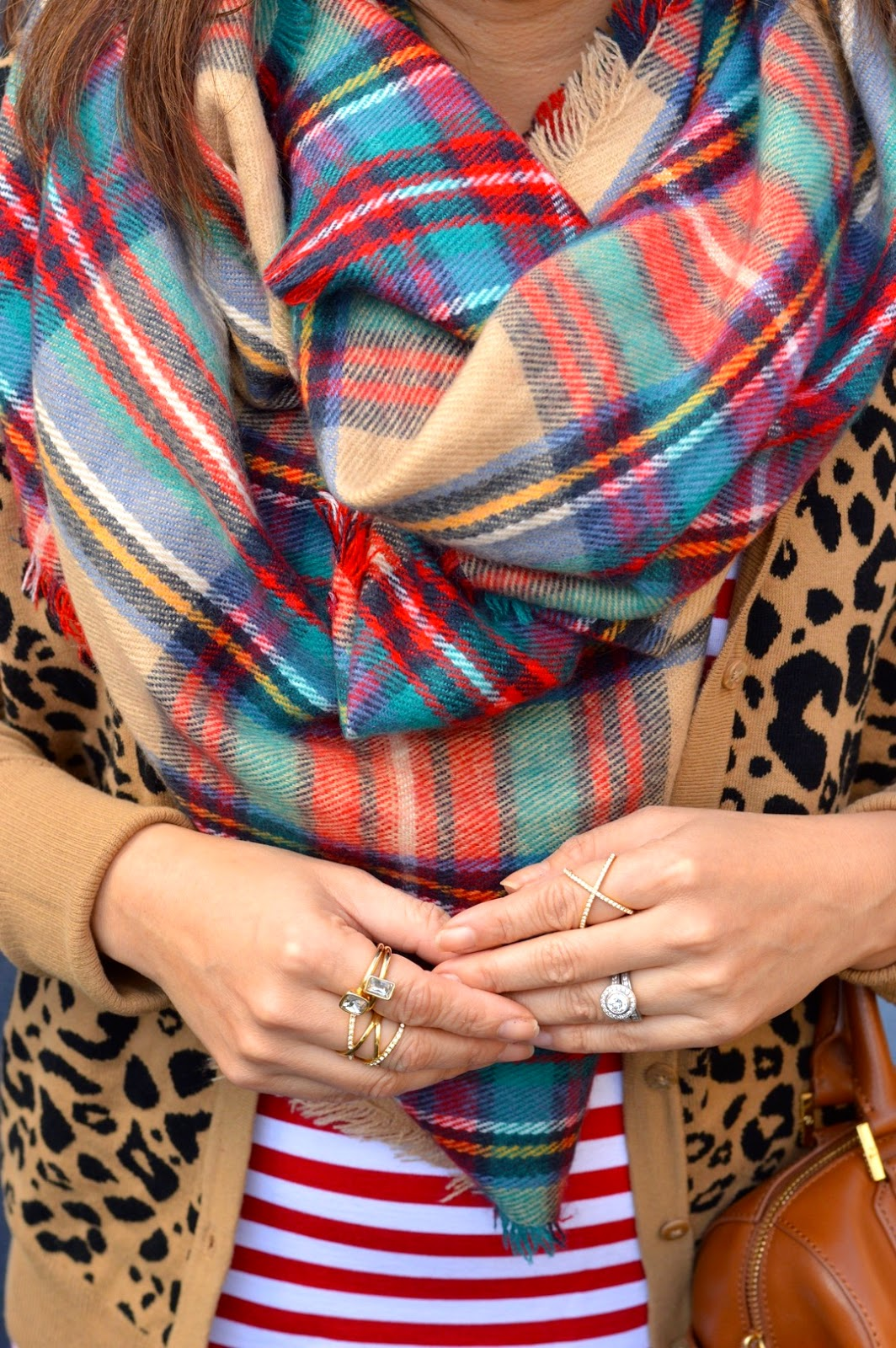 Target Plaid Scarf, Pattern Mixing, baublebar pave ring