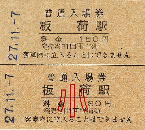 東武鉄道 常備軟券乗車券 日光線 板荷駅
