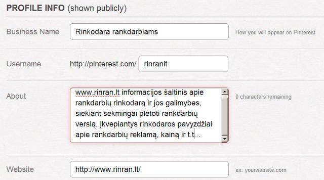 Pinterest profilio informacija