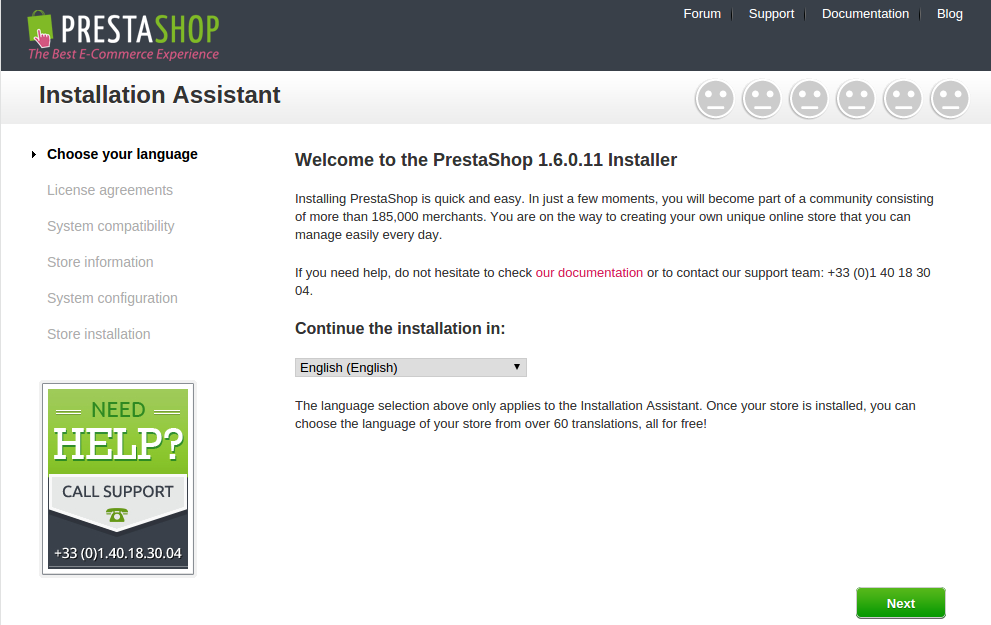 instal prestashop step 1