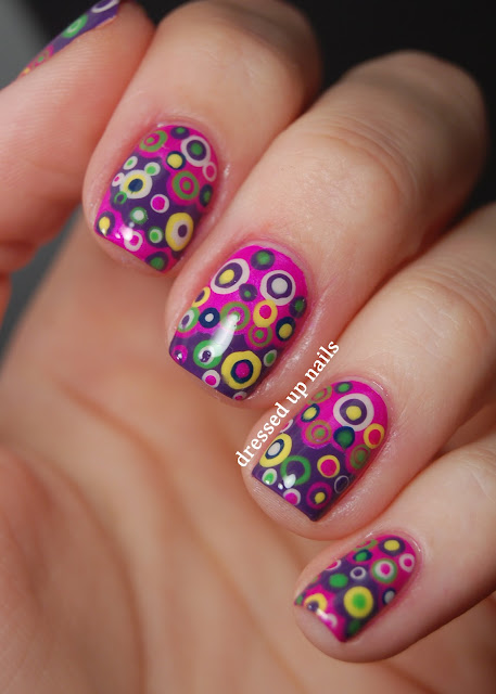 Dressed Up Nails - colorful layered dots nail art