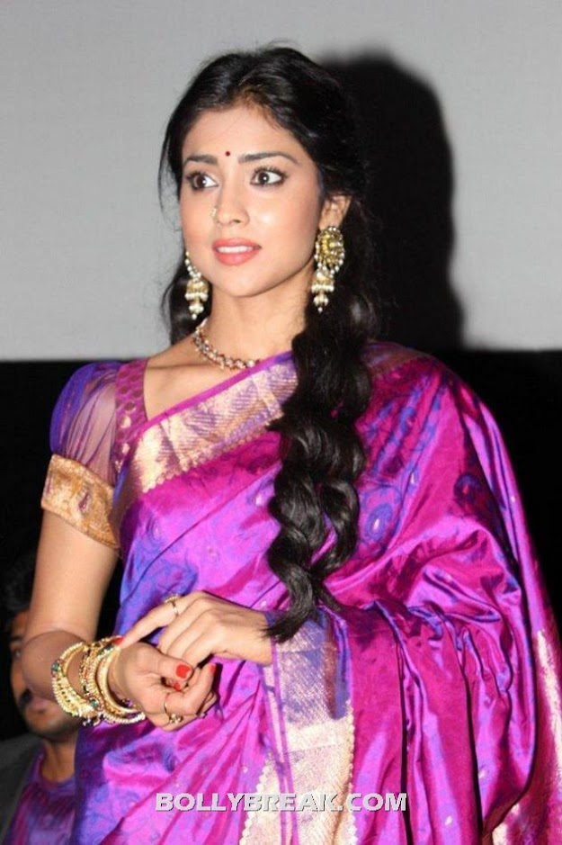 Shriya saran saree hot pic - (5) - Shriya saran purple saree photos