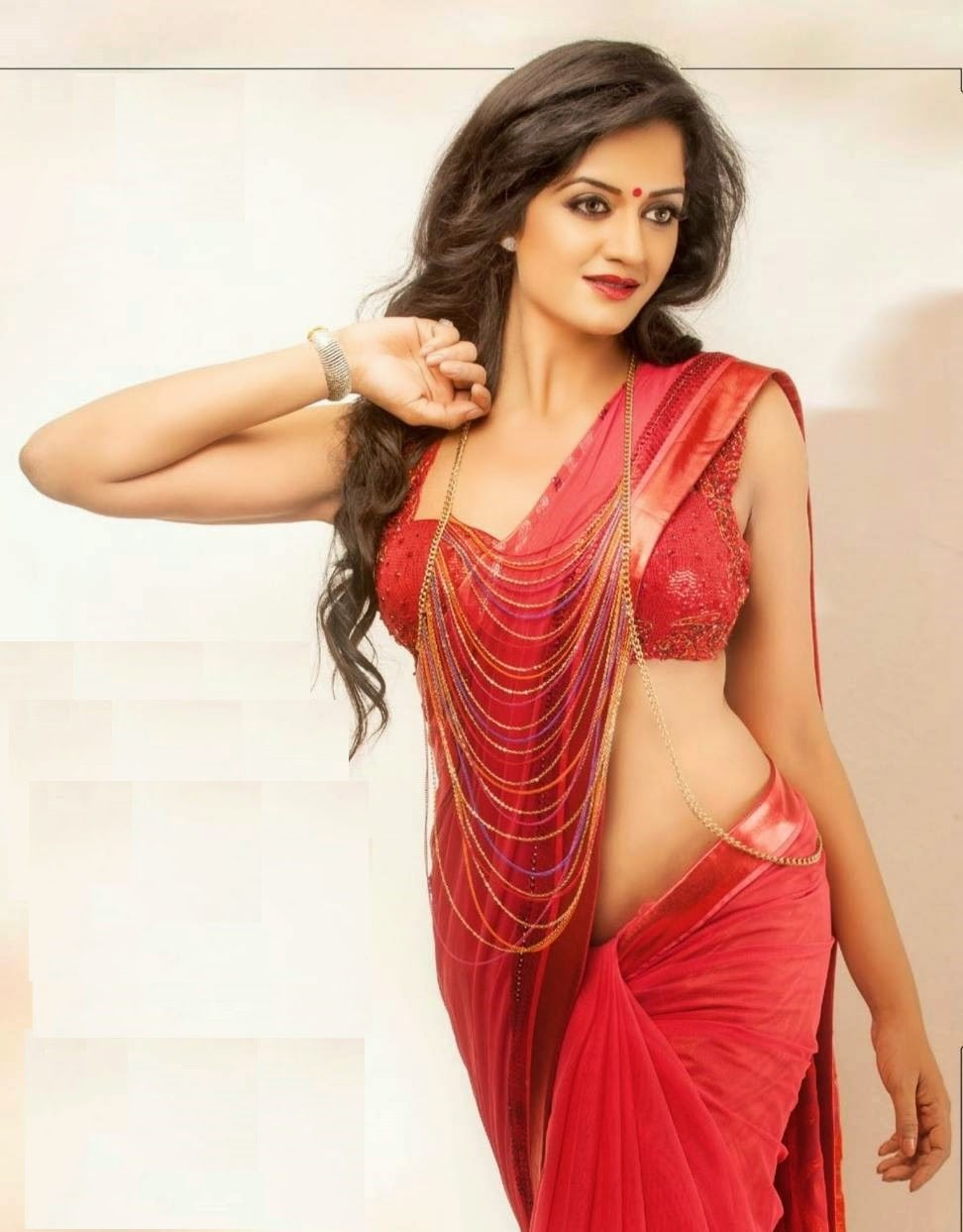vimala raman hot in red saree belly show photos   saree