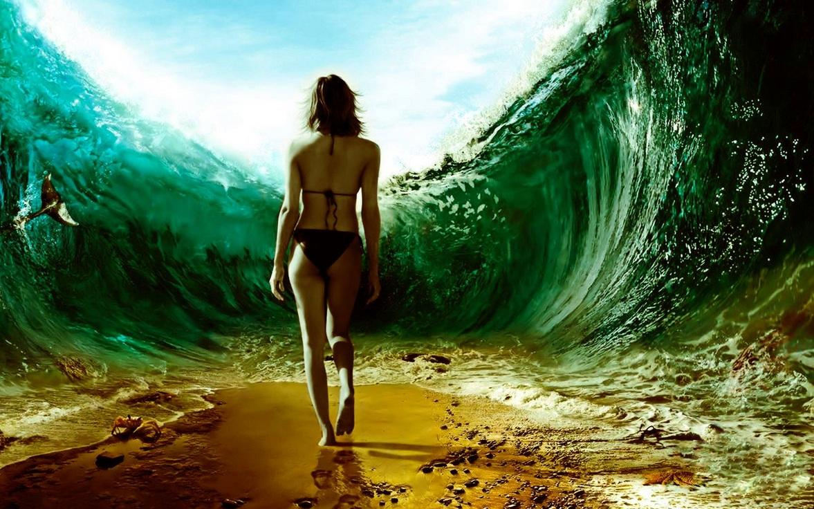 Girl Walking On The Ocean Floor Amazing Wallpapers Desktop HD Widescreen Girls